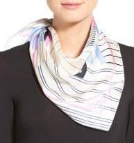 Vince Camuto 'Pinstripe Pal' Silk Scarf in 'Night Shadow Blue' $53.25 CAD