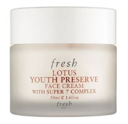 Fresh Lotus Youth Preserve Face Cream with Super 7 Complex 0.5oz, $20 CAD // This smells like cucumbers and feels like a dream. It's a great moisturizer for all skin types. The Super 7 complex defends against wrinkles, preserves collagen, supports the production of hyaluronic acid, seals in moisture, and softens the skin.